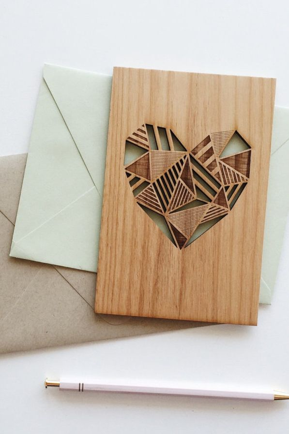 A laser-cut wood card that's a gift in iteself