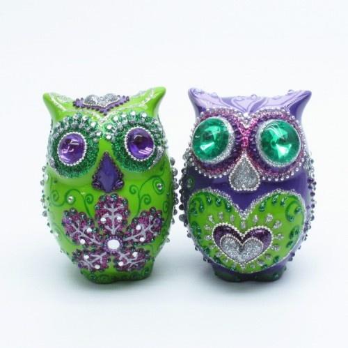 Purple Green Owl Lovers Wedding Cake Topper Home Decor S P