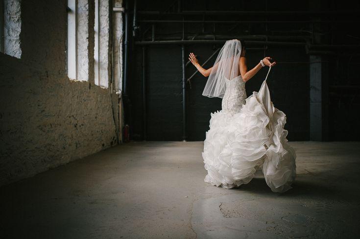 bride walking with beautiful dress