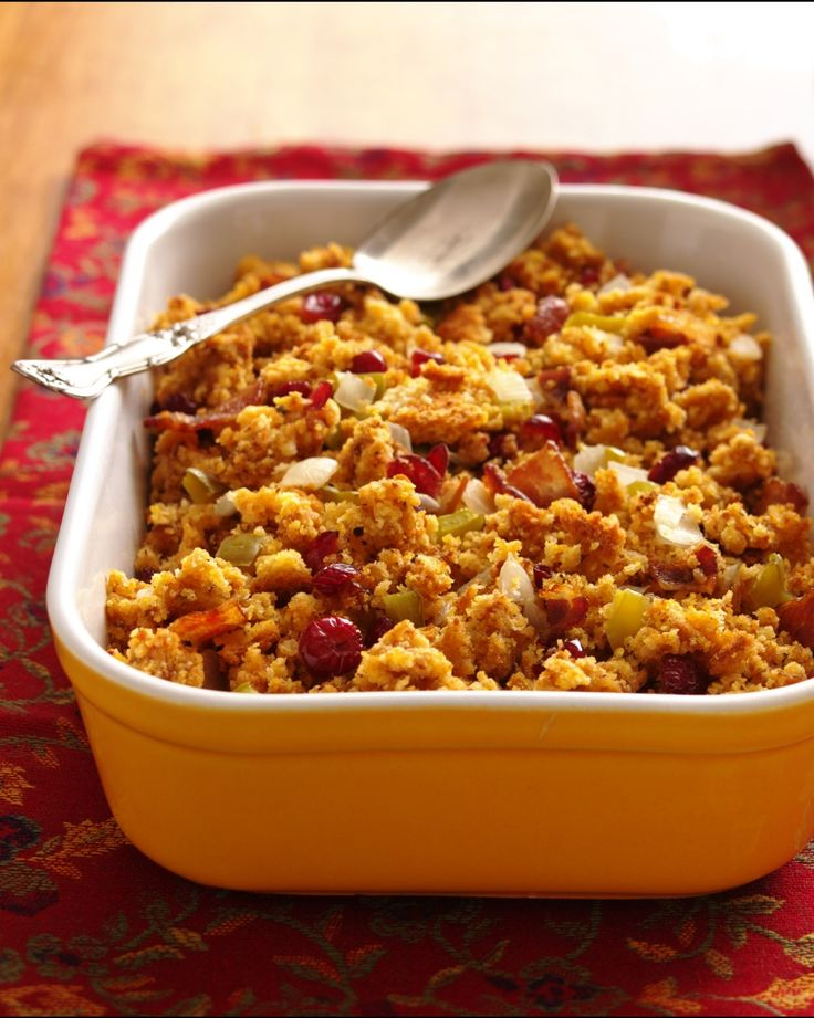 To save time and make room in the kitchen, make this easy stuffing up to four hours ahead of serving time; simply cover and refrigerate until ready to bake. Remember to add 5-10 minutes to bake time if refrigerating prior to serving!