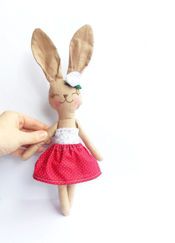 Stuffed Bunny Rabbit doll Stuffed Animal Plush Bunny toy handmade Animal Baby doll blue polka dot skirt lace embroidered face Child Friendly on Etsy, $36.19 AUD