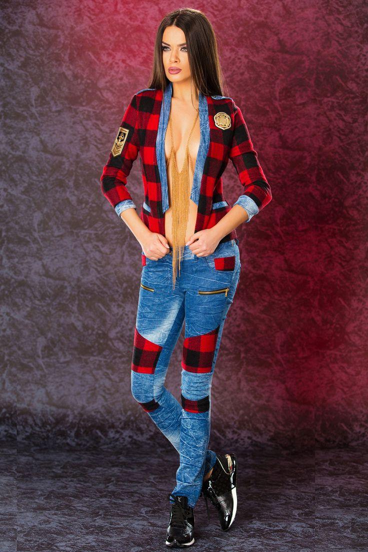 Ocassion Vintage Love Blue Set, plaid fabric, zipper details pockets, denim fabric, slightly elastic cotton