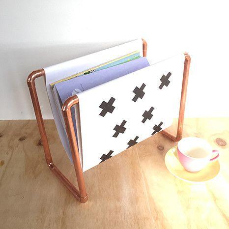 DIY Kit: Copper Magazine Rack - white fabric with black crosses