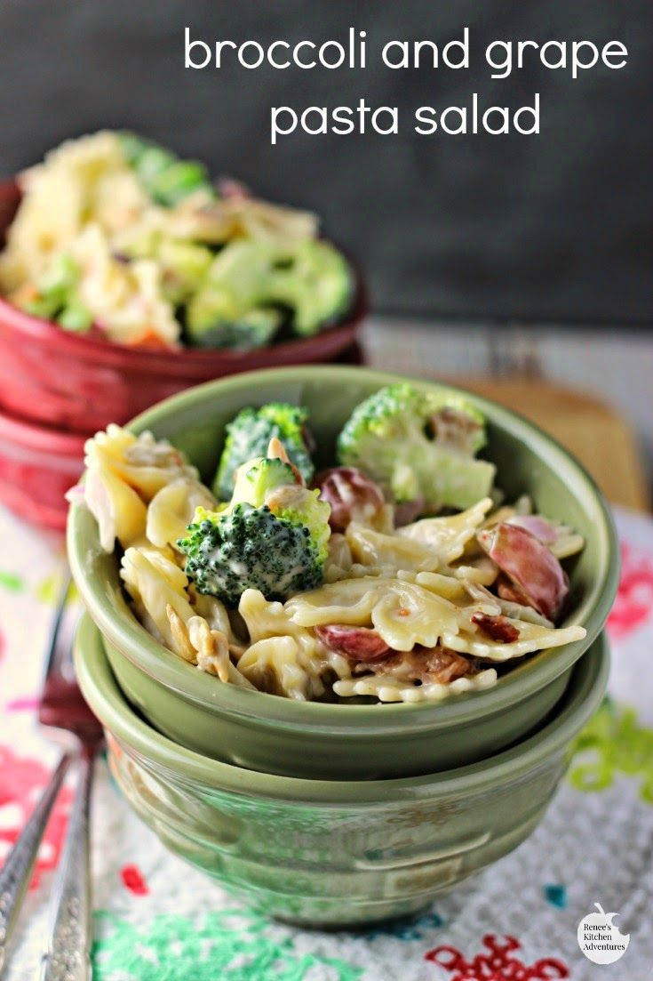 Broccoli and Grape Pasta Salad   by Renee's Kitchen Adventures - Easy recipe for a fresh broccoli and grape side dish perfect for your BBQ or summer party!