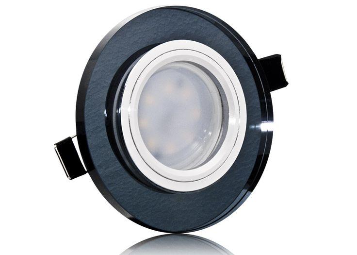 LED Einbaustrahler Set mit Marken GU10 LED Spot Nextec 5 Watt schwarzes Kristallglas rund 40 Watt Ersatz