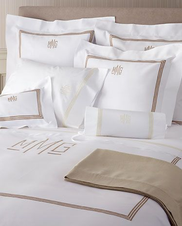 3 Line Embroidered and Monogram Pique Bed Linens with Coordinating Luxury Sheeting #mintedandmine and #personalized