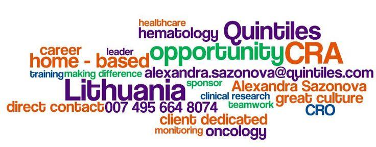 Lithuania: urgent CRA role available. Contact me for application via alexandra.sazonova@quintiles.com