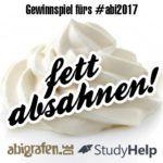 abigrafen & StudyHelp Gewinnspiel für alle Abiklassen 2017: Fette Gewinne absahnen! Gewinn-Code: Sahne#Abi17-05 https://www.abigrafen.de/fett-absahnen/