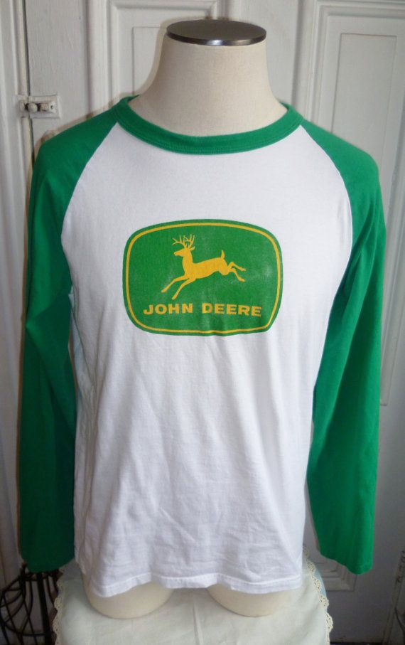 Vintage John Deere Tractor Long Sleeved Ringer T Shirt - Large