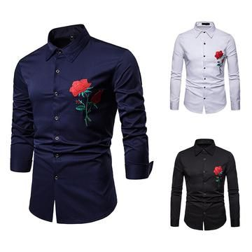 65bc7cc7 Navy Slim Fit Men's Long Sleeve Rose Embroidered Dress Shirt | Men's ...