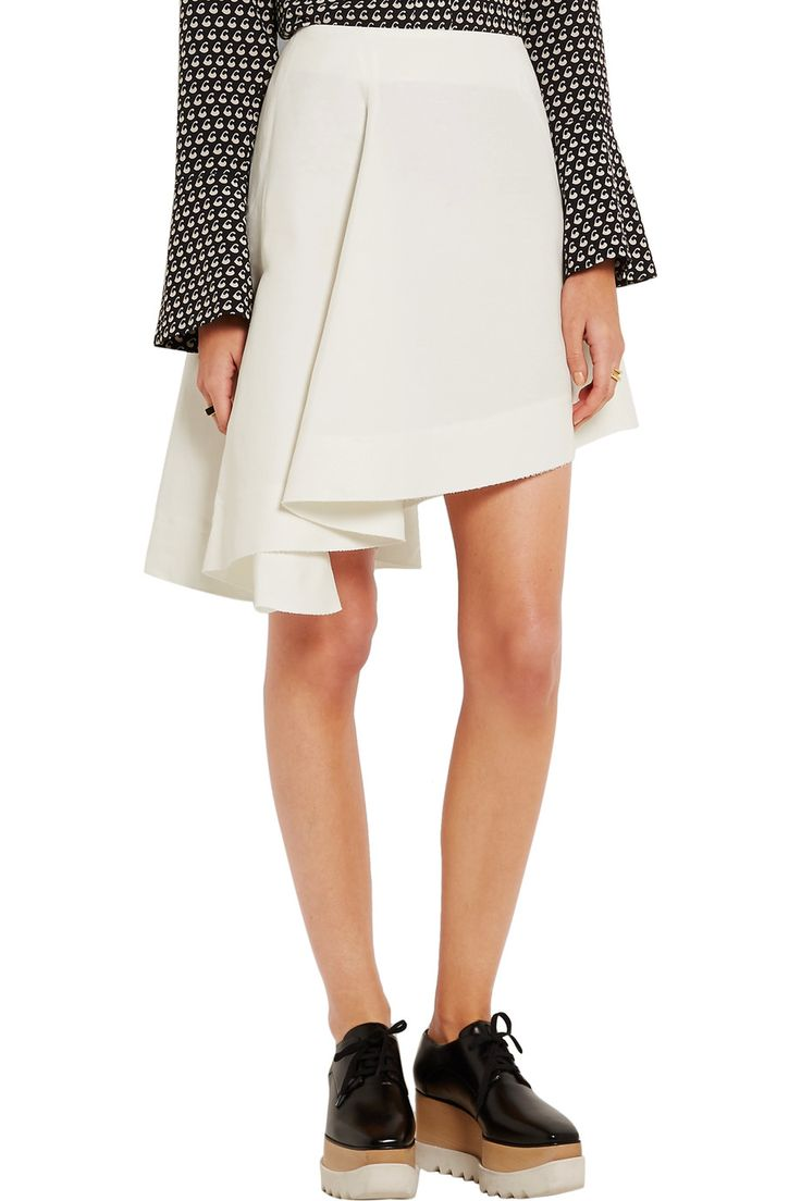 MarniAsymmetric cotton-blend mini skirt