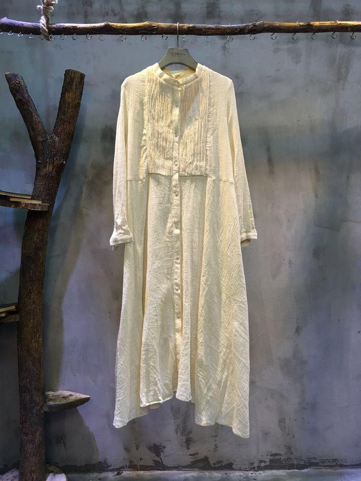 Mori Girl Loose Cotton Linen Dress Vintage Beige Spring Dress #white #dress #cotton #linen #beige #spring #vintage #elegant