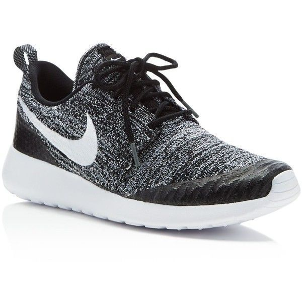Nike Women's Roshe One Flyknit Sneakers ($120) ❤ liked on Polyvore featuring shoes, sneakers, black, breathable shoes, flyknit shoes, flyknit trainer, nike footwear and black sneakers