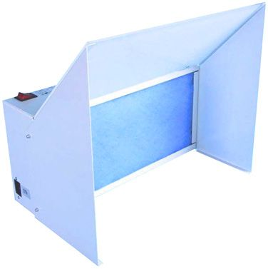 Aircom 38 Watt Spray Booth Price: £164.99 The Italian manufactured Aircom 38 Watt spray booth is a robust, steel cased hobby spray booth that easily folds down into an exceptionally compact size for storage, the Aircom 38 is a filtration spray booth, so there are no hoses or ducting to be concerned with. A two stage filter element is used - a primary synthetic filter & secondary activated carbon filter, both of which are easily changed.