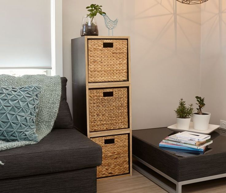 These stylish wooden boxes are easy to make and they look great when they're stacked #diy #storage #wovenbaskets #bunnings
