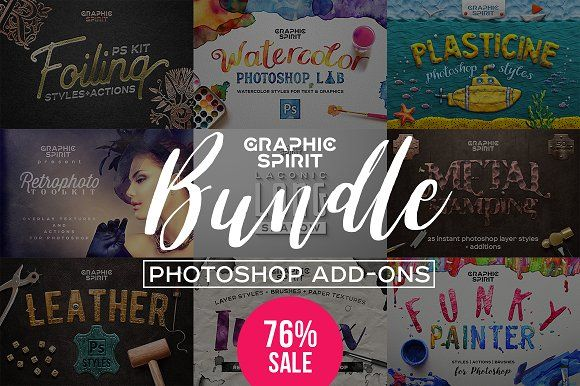 BUNDLE Photoshop add-ons EFFECTS by Graphic Spirit on @creativemarket