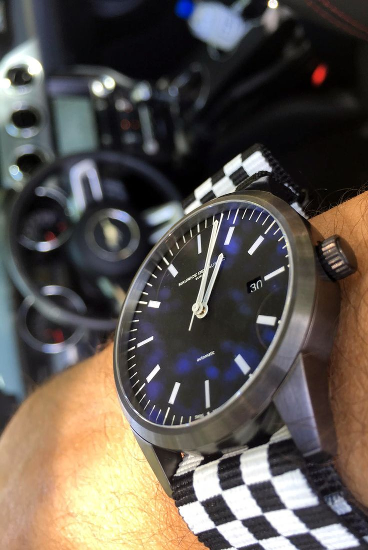 Bespoke Maurice de Mauriac watch with the Finish Flag Nato strap. Swiss watches and accessories for men and women.