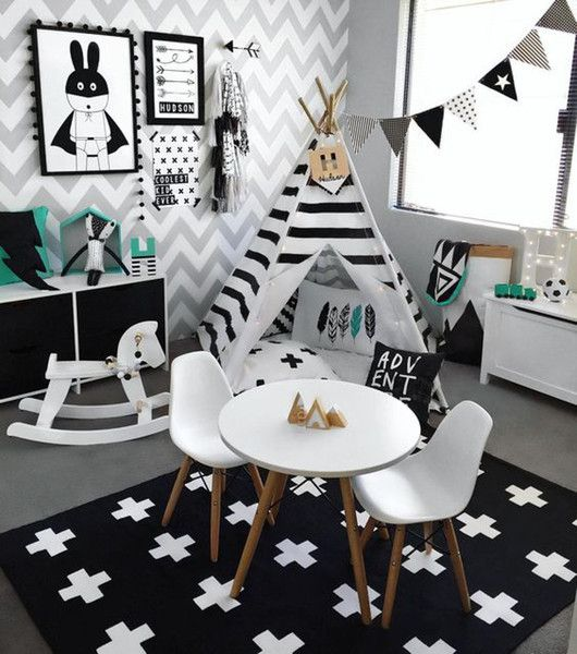 Monochrome Kids Playroom Inspiration                                                                                                                                                                                 More