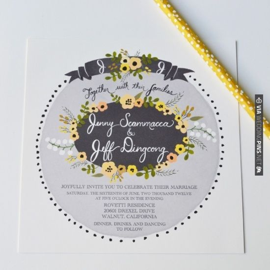 Grey and Yellow Palette Custom Invite Suite by Loft Life Press | VIA #WEDDINGPINS.NET