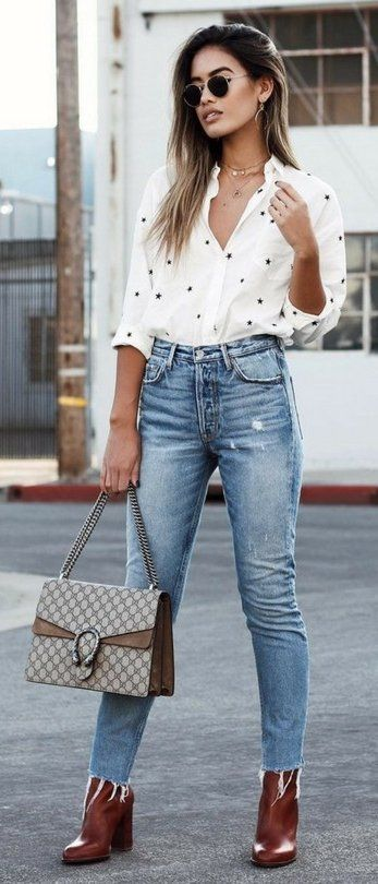 #winter #fashion /  Fall CasualJeans By Revolve // Top By ASOS // Heels By Sam Edelman // Bag By GucciFashion