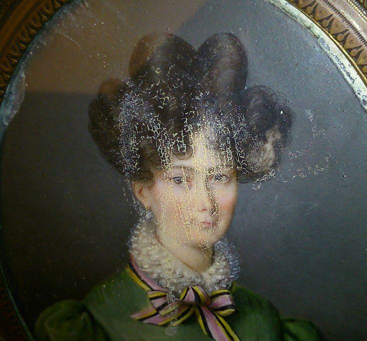 gouache sur papier signé BLANCHEL  XVIII XIXe grande miniature a restaurer 10X8
