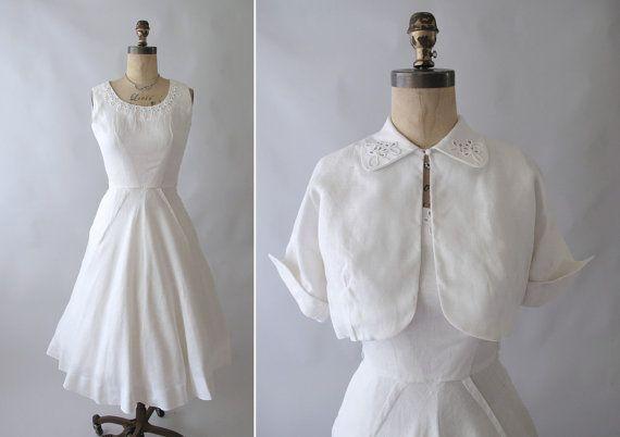 RESERVED...Vintage 1950s White Linen Wedding Dress and Jacket via Etsy