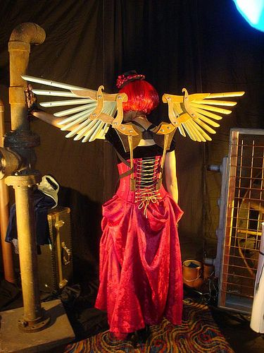 Steampunk wings at the Gala   Brass feather wings made from venetian blinds!
