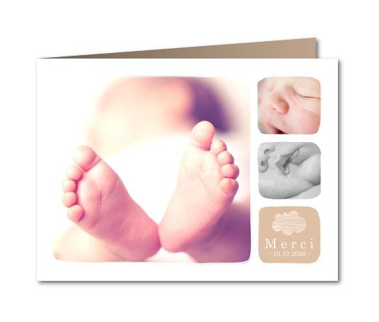 Carte de remerciement naissance Douceur nuage (B-907)