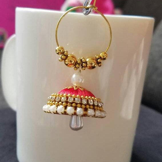 Silk thread jhumkas  hoops Silk thread by papersandpassions