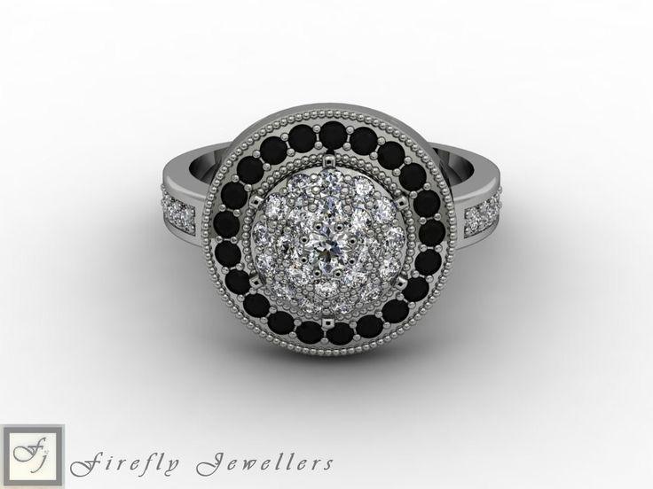 Pave white and black diamond engagement ring (Source: www.fireflyjewel.co.za)
