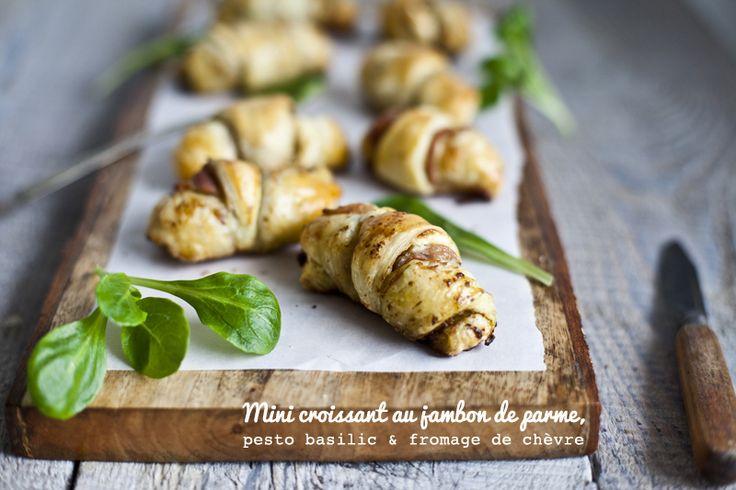Mini croissant jambon de parme, pesto & chevre ©Emiliemurmure