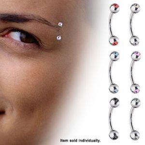 Double Jeweled Round Ball Curved Titanium Eybrow Ring - 16ga