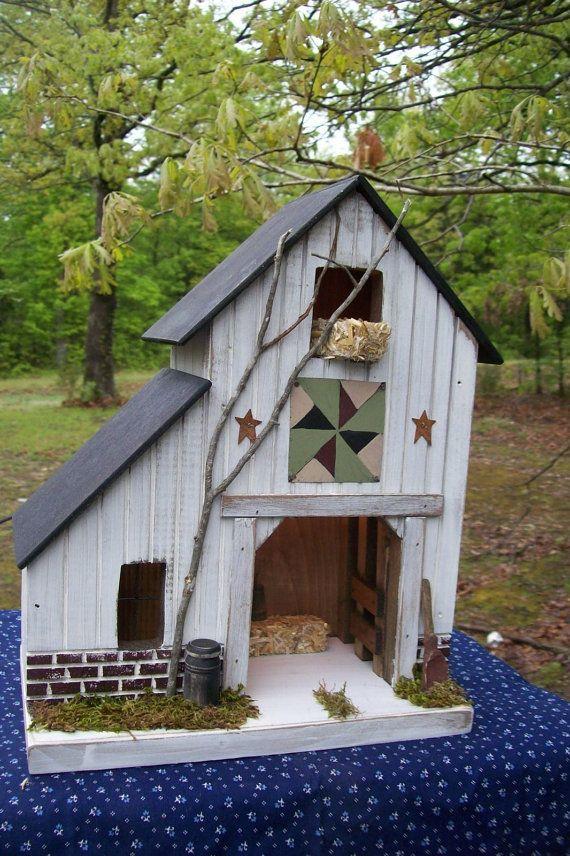 Primitive Lighted Rustic Barn Stable Folk Art by GooseberryCreek, $59.95