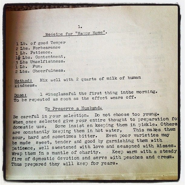 Recipe for Happy Home and To Preserve A Husband. Love this!