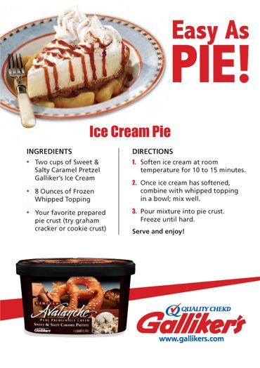 Pretzel Galliker's Ice Cream Pie Recipe | Desserts | Pinterest | Ice ...