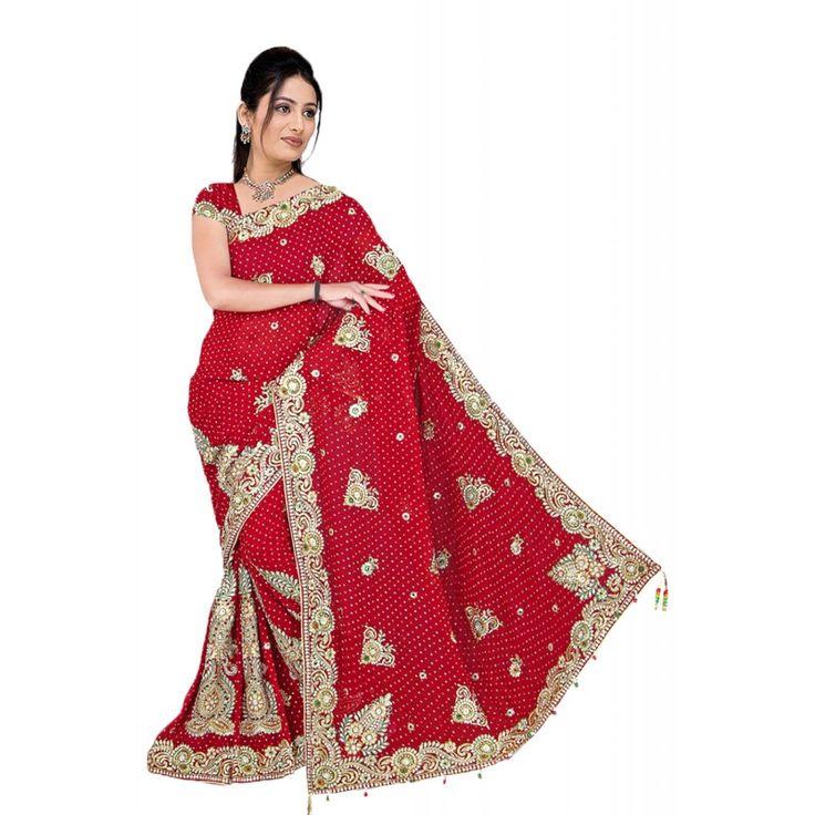 Attractive Embroidered Pallu Saree in Brick Red