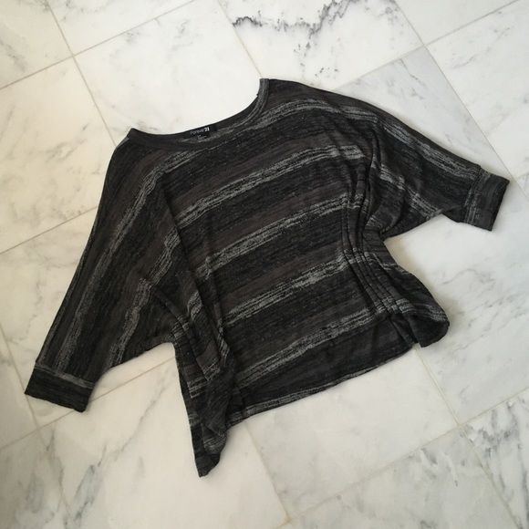 👻 grey striped batwing top Super cozy batwing knit top. Loose fitting Forever 21 Tops