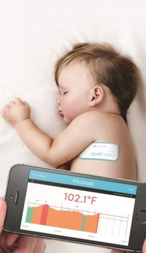 TempTraq: wearable thermometer w/iOS app http://www.macrumors.com/2015/01/05/temptraq-wearable-bluetooth-thermometer-ios/