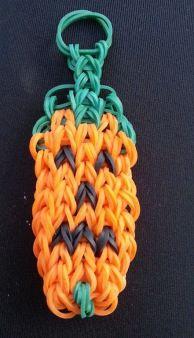 Rainbow Loom pumpkin keychain