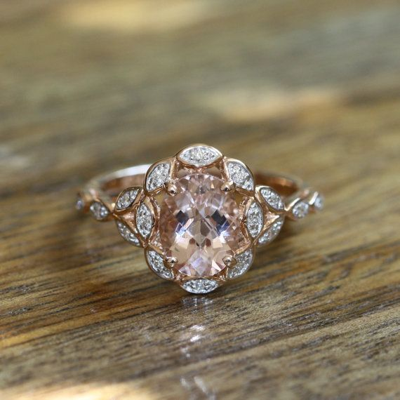 Floral Diamond and Morganite Engagement Ring 14k Rose Gold Halo Diamond Pink Morganite Wedding Ring Band, Size 7 (Resizable)