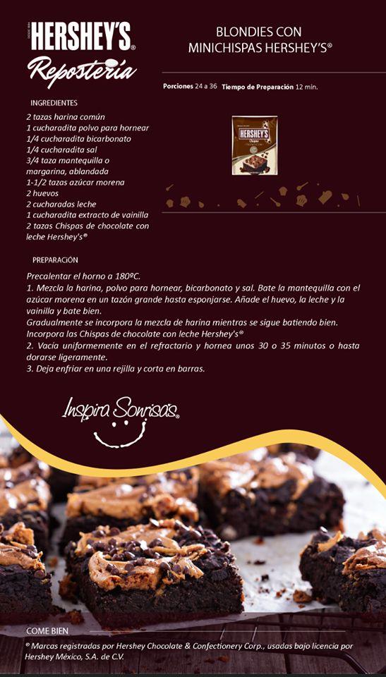Un rico postre para disfrutar el fin de semana. #Hersheys #Chocolate #Repostería #Postres #Receta #DIY #Bakery #Brownie #ChispasDeChocolate