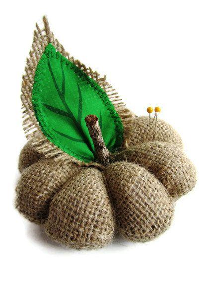 Burlap Pumpkin. Fall, Autumn, Thanksgiving, Halloween Decor. Pin Cushion. Upcycled. Eco Friendly. Handmade in Hawaii. Ready to Ship.. $12.00, via Etsy.