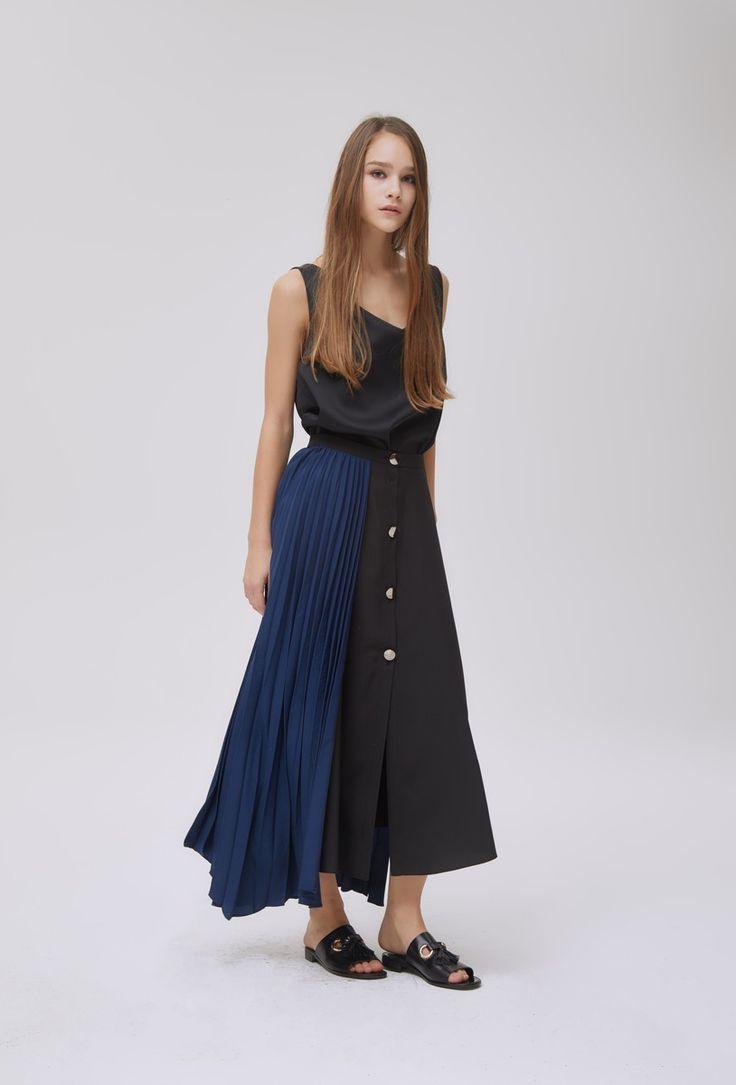 Pleat Combo Skirt