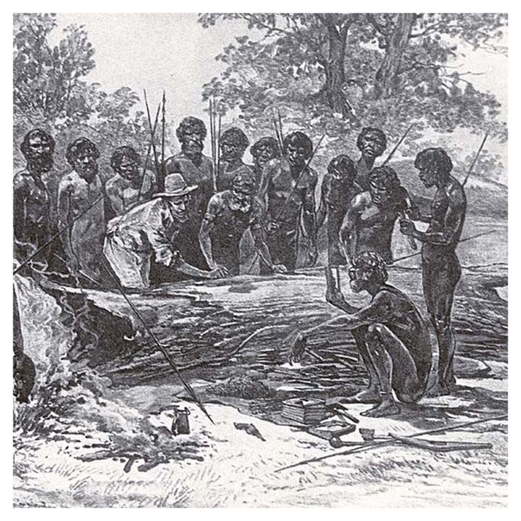 Artists impression of Batmans treaty with Port Phillip Aborigines, First published in 1886.