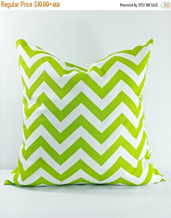SALE Chartreuse Chevron. Lime Green Pillow Cover. Sham Pillow
