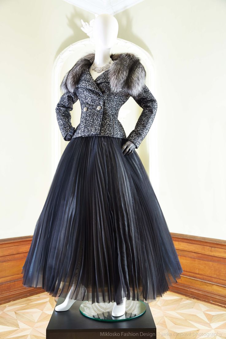 9. MFD Silver grey formal jacket with fur and black evening skirt. www.mikloskofashiondesign.sk