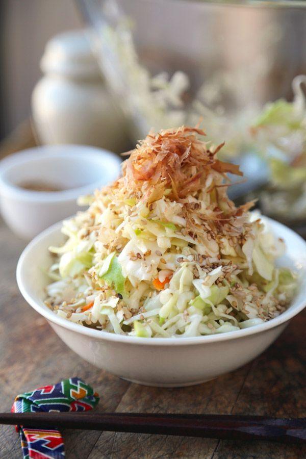 Japanese Cabbage Salad with Bonito Flakes