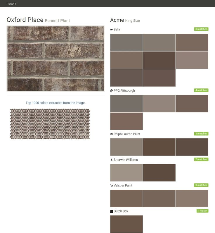 Oxford Place. Bennett Plant. King Size. Acme. Behr. PPG Pittsburgh. Ralph Lauren Paint. Sherwin Williams. Valspar Paint. Dutch Boy.  Click the gray Visit button to see the matching paint names.