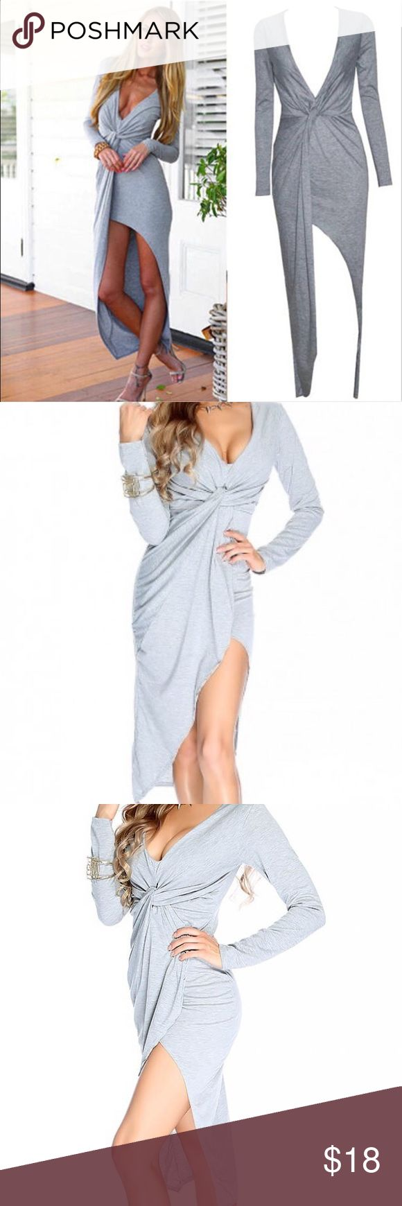 Grey long sleeve dress Casual long sleeve dress with slit. Can also wear to beach! Dresses Long Sleeve