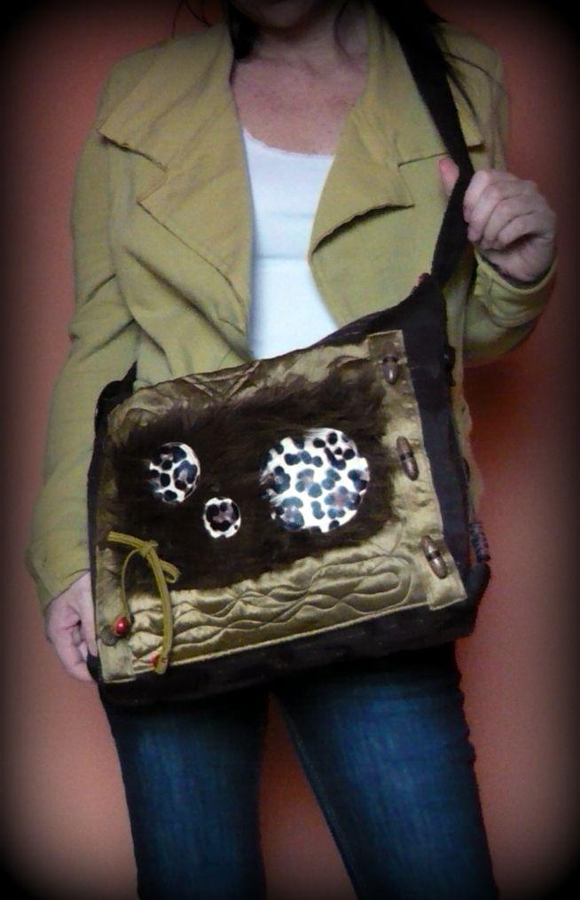 Handmade by Judy Majoros - Satin-Faux fur-leopard crossbody bag. Shoulder bag.Recycled bag